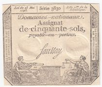 France 50 Sols Liberty and Justice (23-05-1793) - Sign. Saussay - Serial 3830 - XF