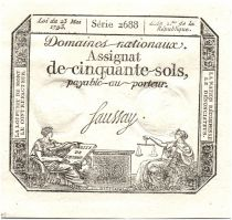France 50 Sols Liberty and Justice (23-05-1793) - Sign. Saussay