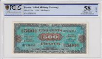France 500 Francs Allied Military Currency (Flag) - Without Serial - PCGS AU 58 OPQ