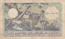 France 500 Francs Banque de l Algerie Surchargé TRESOR - 1943