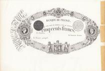 France 500 Francs Black, uniface - Black Proof on large paper type 1863