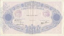 France 500 Francs Blue and pink - 06/04/1939 Serial X3336
