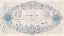 France 500 Francs Blue and pink - 09-11-1939 Serial J.3751