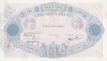 France 500 Francs Blue and pink - 12-01-1939 Serial A.3159