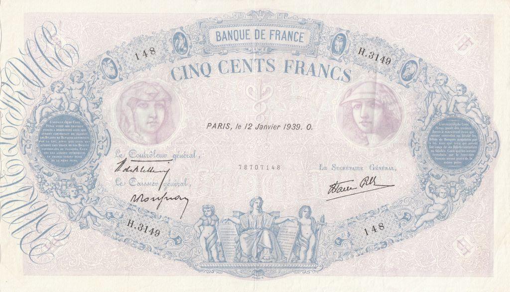 France 500 Francs Blue and pink - 12/01/1939 Serial H3149