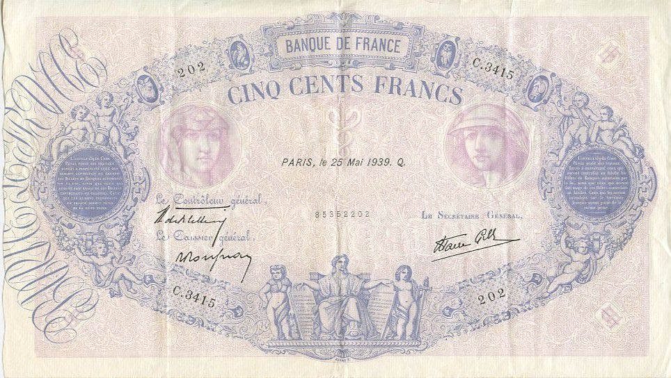 France 500 Francs Blue and pink - 25/05/1939 Serial C3415
