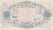 France 500 Francs Blue and pink - 28-09-1939 Serial O.3611