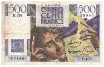 France 500 Francs Chateaubriand 02-01-1953 - Série B.138 - TTB