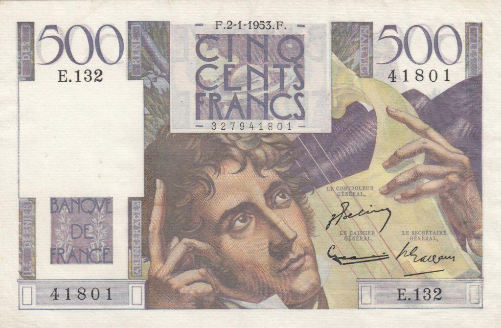 France 500 Francs Chateaubriand 02-01-1953 - Série E.132 - TTB+