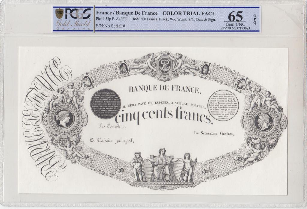 France 500 Francs Indices noirs - Epreuve noire type 1863 (1868) - PCGS 65 OPQ