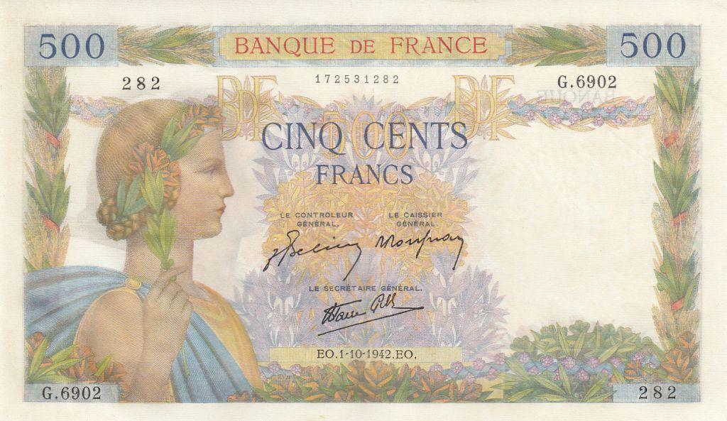 France 500 Francs La Paix - 01-10-1942 Série G.6902 - p.neuf