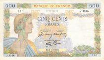 France 500 Francs La Paix - 02-01-1942 Série J.4316 - TTB