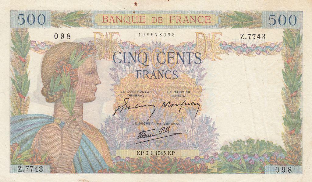 France 500 Francs La Paix - 07-01-1943 - Serial Z.7743