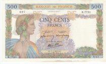 France 500 Francs La Paix - 07-01-1943 - Série K.7734 2ème ex.