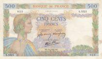 France 500 Francs La Paix - 09-04-1942 Série S.5521 - TTB
