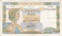 France 500 Francs La Paix - 10-09-1942 Série O.6749 - TTB
