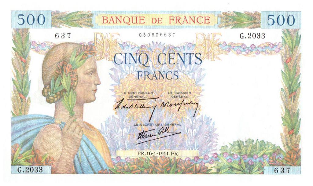 France 500 Francs La Paix - 16/01/1941 - G.2033