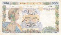 France 500 Francs La Paix - 20-11-1941 Série K.3989 - TTB