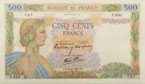 France 500 Francs La Paix - 26-09-1940 Série Y.953 - SUP