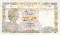France 500 Francs La Paix - 28-08-1941 Série D.3584 - TTB