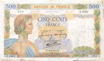 France 500 Francs La Paix - 28-08-1941 Série Y.3562 - TB