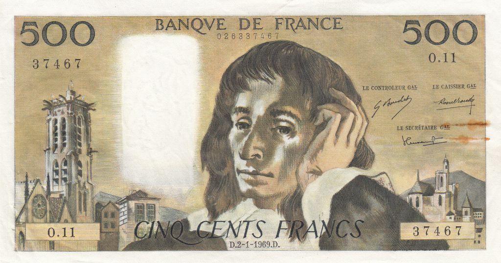 France 500 Francs Pascal - 02-01-1969 - O.11