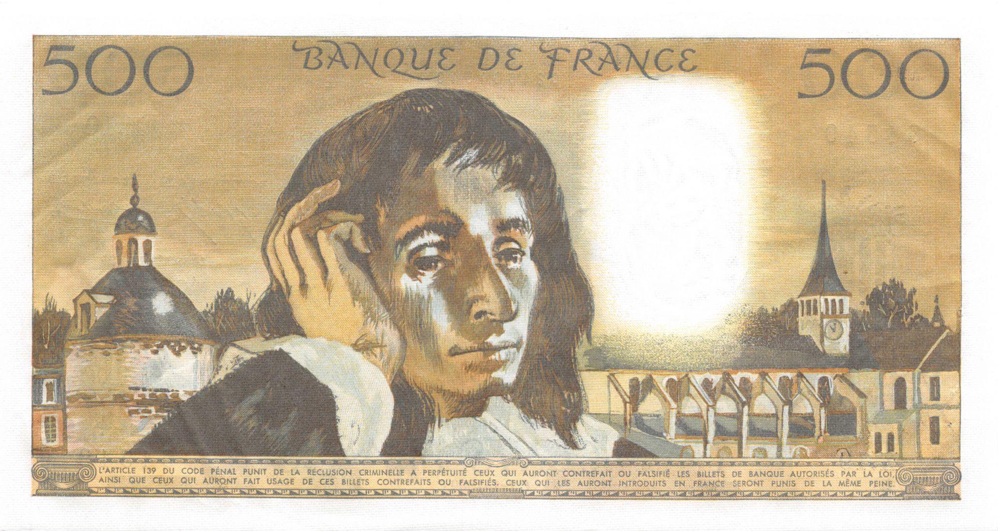 France 500 Francs Pascal - 02-01-1969 - Série X.10 - SUP+