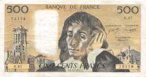 France 500 Francs Pascal - 03-11-1977  Serial E.87 -  VF