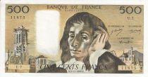 France 500 Francs Pascal - 05/12/1968 -  Serial U.7