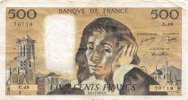 France 500 Francs Pascal - 05-12-1974  Serial C.49 - VF