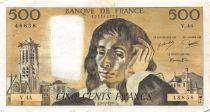 France 500 Francs Pascal - 05-12-1974  Serial V.44 - VF
