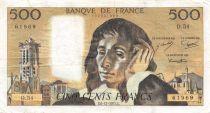 France 500 Francs Pascal - 06-11-1975  Serial D.54 - VF