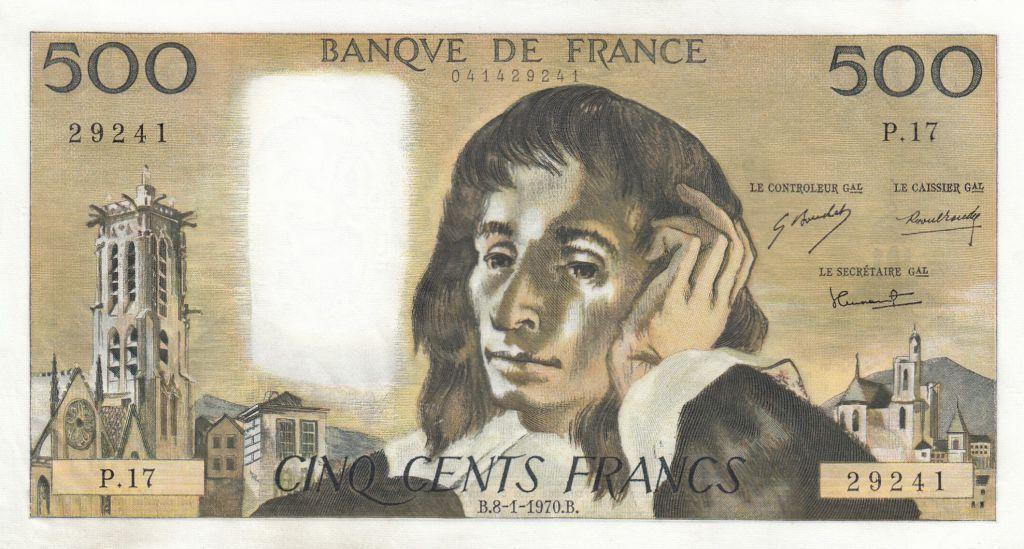 France 500 Francs Pascal - 08-01-1970 - P.17