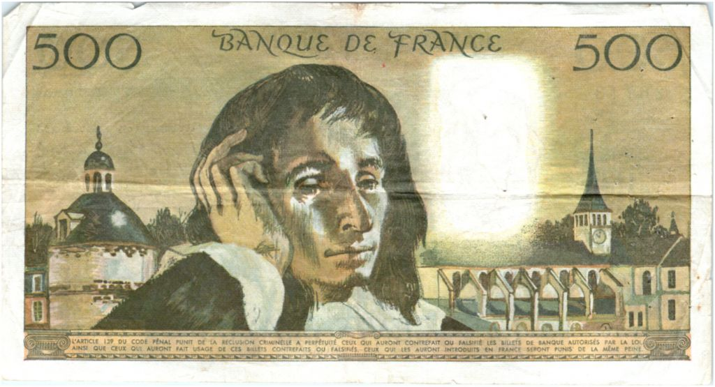 France 500 Francs Pascal - 08-01-1970 Serial Y.16 - F to VF