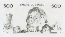 France 500 Francs Pascal - Epreuve taille douce uniface - P.NEUF
