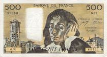 France 500 Francs Pascal - St Jacques Tower - 04-10-1973 - Serial O.32 - F to VF