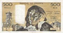 France 500 Francs Pascal - St Jacques Tower - 04-10-1973 - Serial W.31 - F to VF
