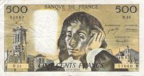 France 500 Francs Pascal - St Jacques Tower - 05-08-1971 - Serial B.24 - F