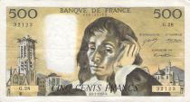France 500 Francs Pascal - St Jacques Tower - 06-01-1972 - Serial G.28 - F to VF