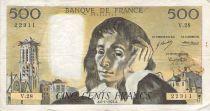 France 500 Francs Pascal - St Jacques Tower - 06-01-1972 - Serial V.28 - F