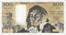 France 500 Francs Pascal - St Jacques Tower - 06-12-1973 - Serial O.38 - F to VF