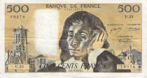 France 500 Francs Pascal - St Jacques Tower - 06-12-1973 - Serial U.35 - F to VF