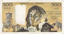 France 500 Francs Pascal - St Jacques Tower - 08-01-1970 - Serial G.21 - VG to F