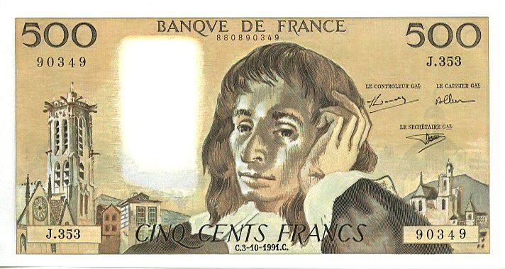 France 500 Francs Pascal - St Jacques Tower - 1991