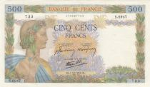 France 500 Francs Pax with wreath - 01-10-1942 Serial S.6947 - aUNC