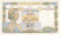 France 500 Francs Pax with wreath - 01-10-1942 Serial T.6934 - VF