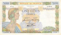 France 500 Francs Pax with wreath - 02-01-1942 Serial J.4316 - VF