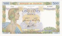 France 500 Francs Pax with wreath - 02-01-1942 Serial N.4267