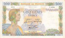 France 500 Francs Pax with wreath - 02-01-1942 Serial U.4284 - VF+