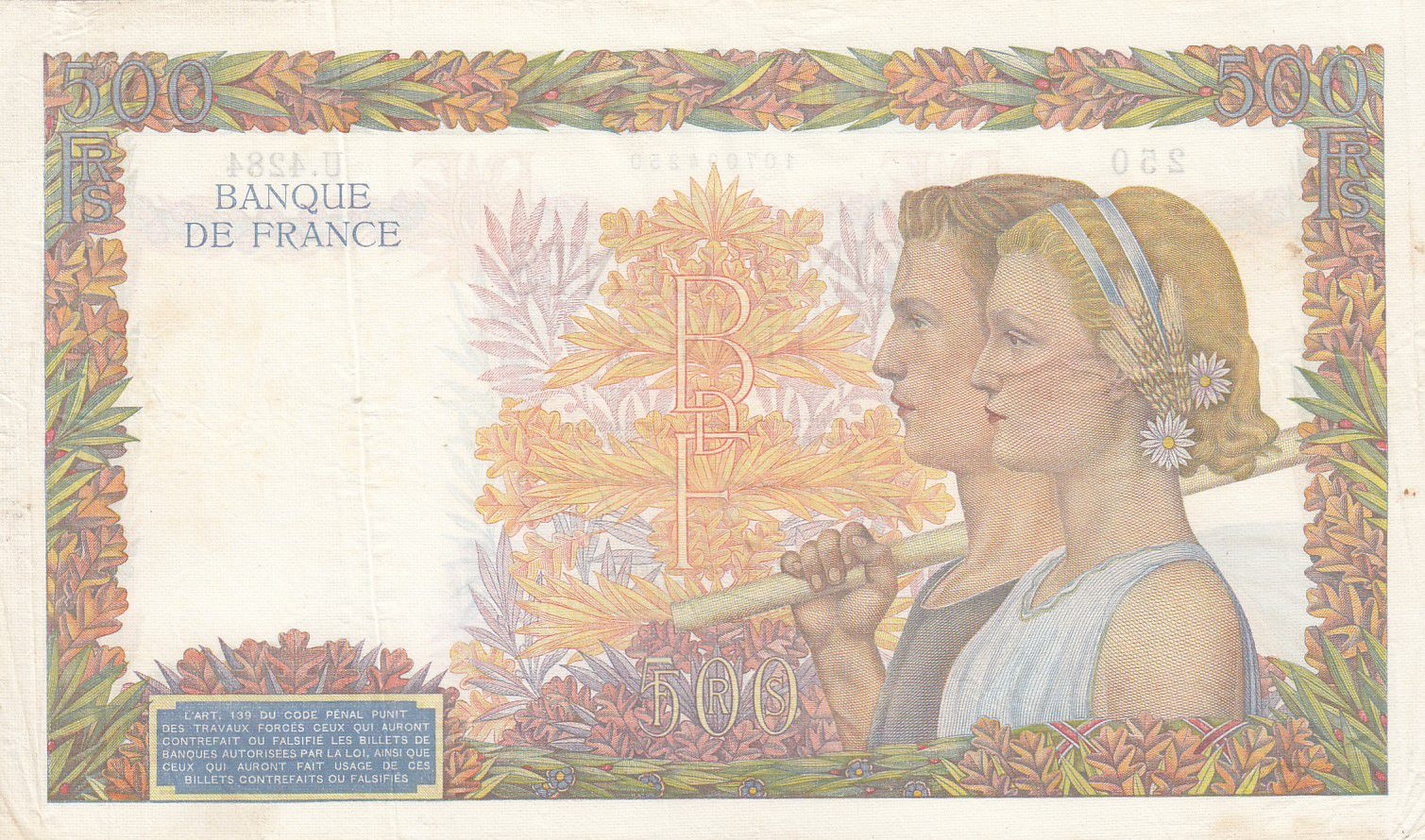 France 500 Francs Pax with wreath - 02-01-1942 Serial U.4284 - VF+